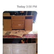 A before & after by Jordan Conway using Amy Howard One Step  Chalk Paint